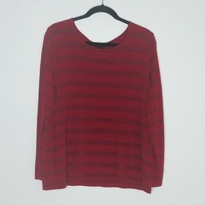 Talbots long sleeve red & sparkle striped T-shirt